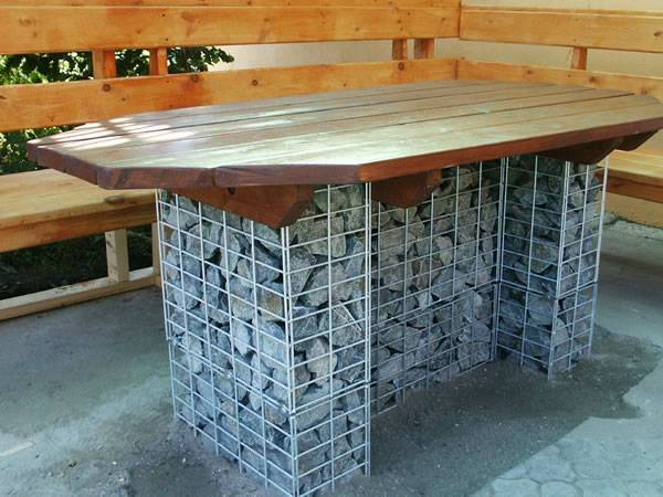 A table with gabion basket filled with rocks as table foot.