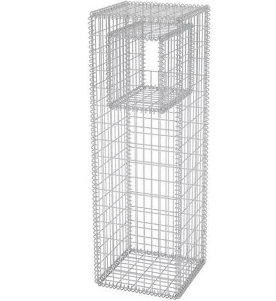 An assembled gabion pillar with an empty space on white background.