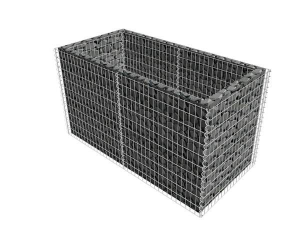 The rectangular gabion planter are filled with stones in the gap.